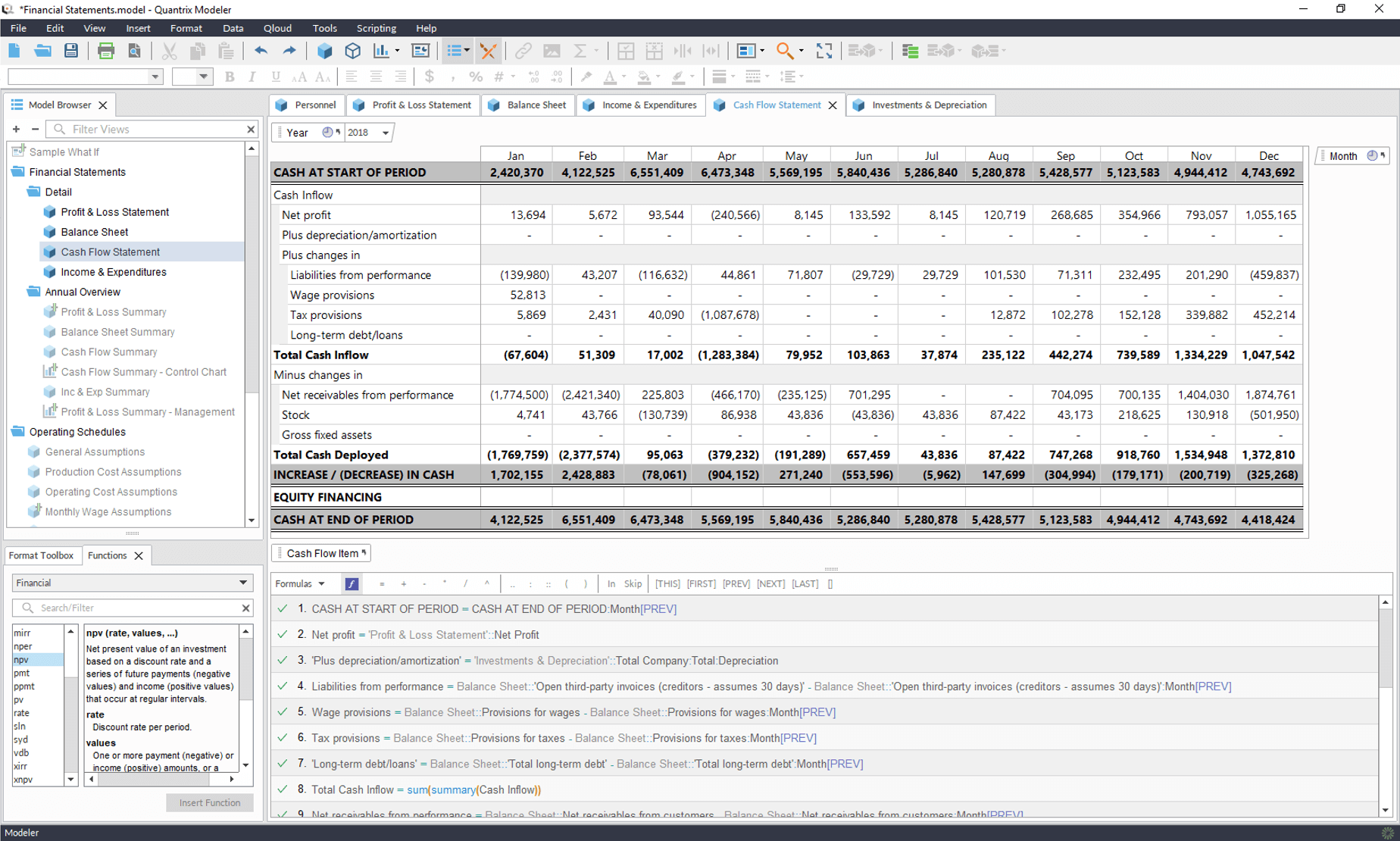 Multi-Dimensional Advanced Financial Modeling Software from